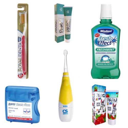 Зубные щетки, пасты и дополнительные принадлежности